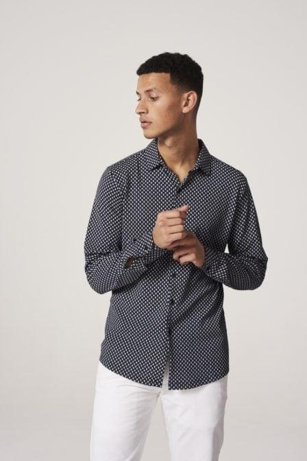 Dstrezzed printed melange jersey blouse blauw