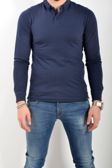 Dstrezzed polo printed stretch pique navy