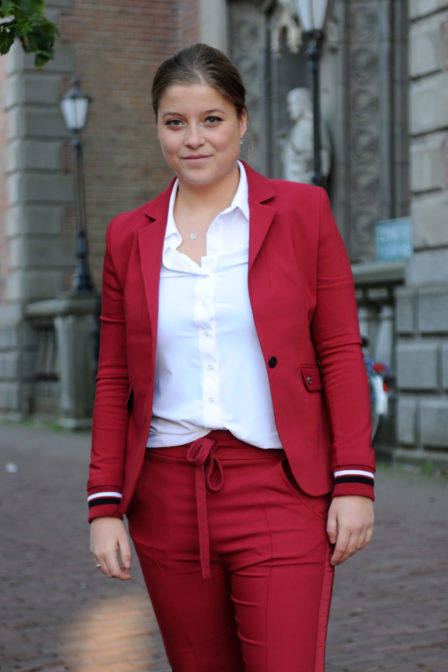 Elias rumelis leya ladies blazer with rib cuffs red