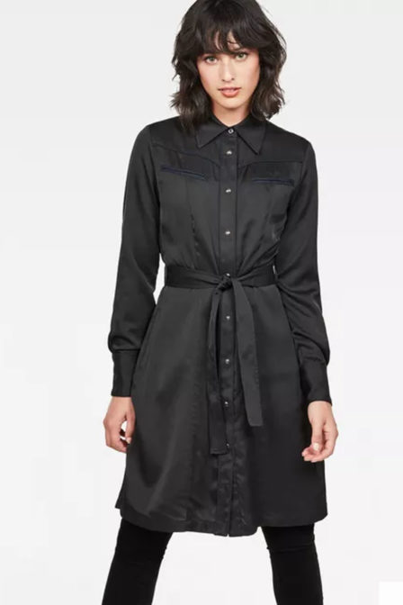 G-star raw tacoma straight flare shirt dress zwart