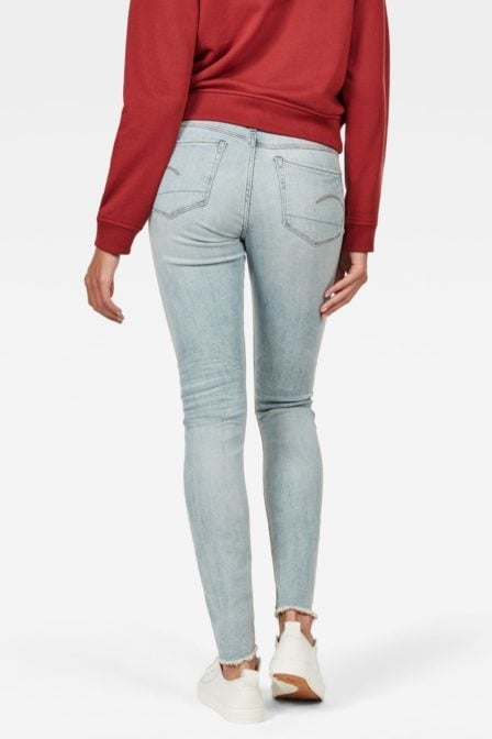 G-star raw 3301 deconstructed mid waist skinny jeans ripped light aged