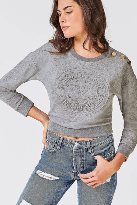 Guess cropped fleece sweater grey