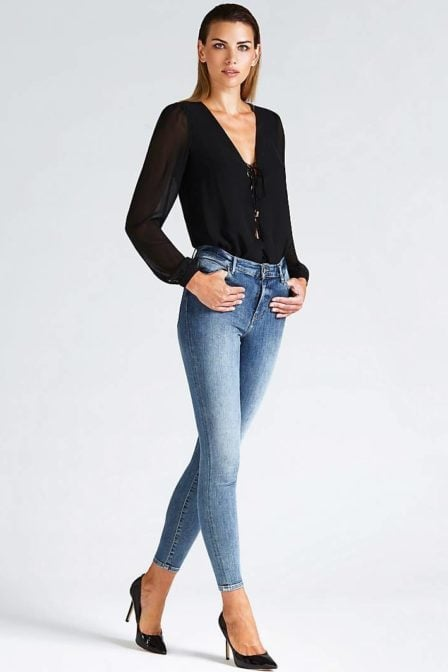Guess lace-up front body top black