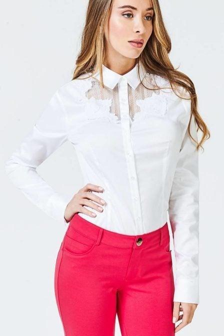 Guess rose applique shirt white