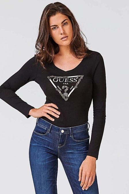 Guess triangle logo t-shirt black