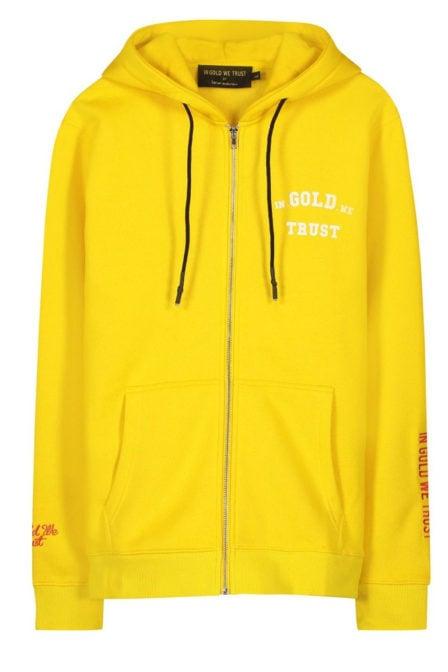 In gold we trust zipper hoodie geel