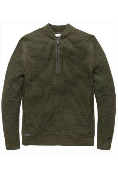 Just brands half zip collar jacquard structure forest night