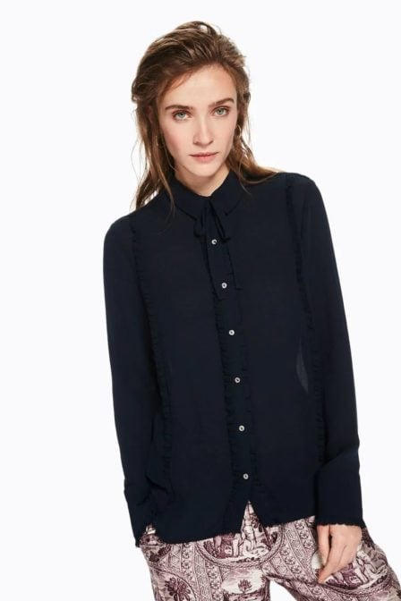 Maison scotch blouse met ruchedetail night