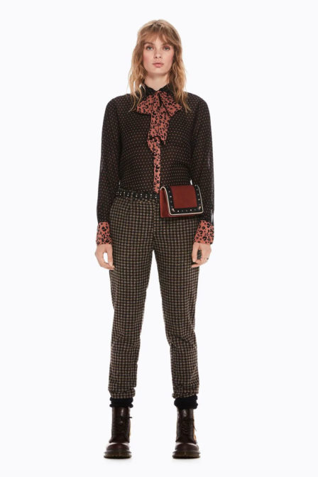 Maison scotch blouse met strik en prints black