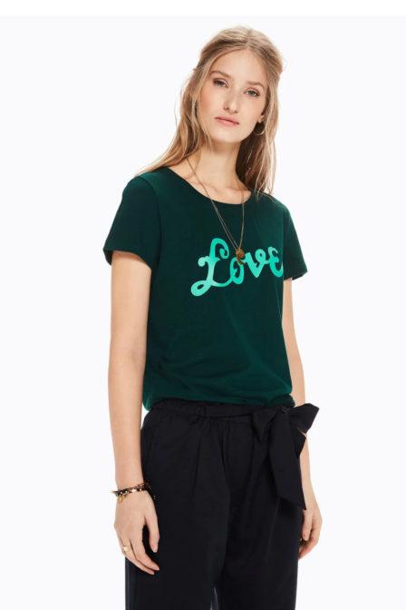 Maison scotch t-shirt met tekst-artwork bottle green