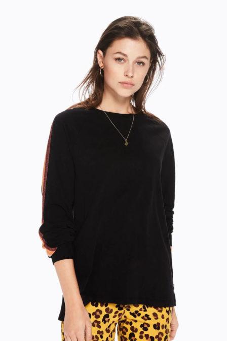 Maison scotch t-shirt met gestreepte vlakken black