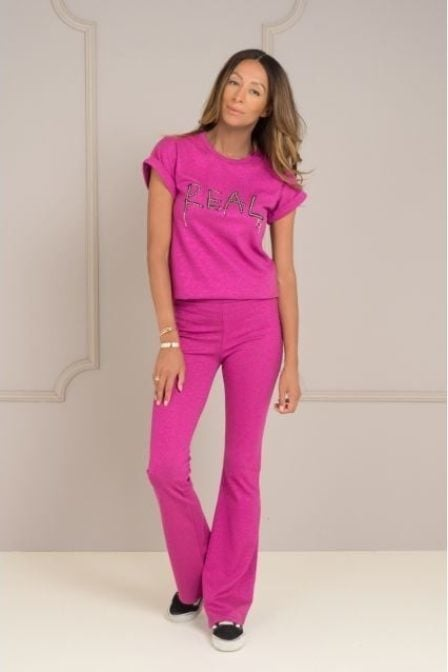 Maria tailor teal lurex t-shirt hot pink