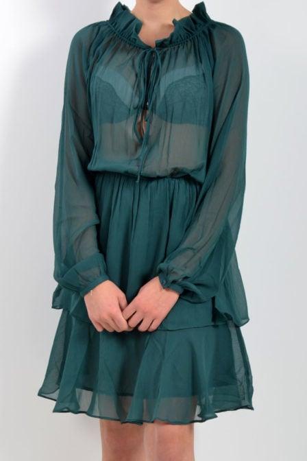 Na-kd jurk met hoge kraag groen