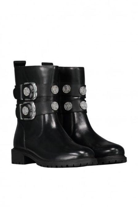 Nikkie combat buckle boots zwart