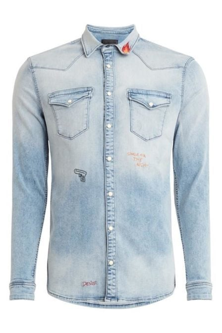 Pure white denim overhemd blauw