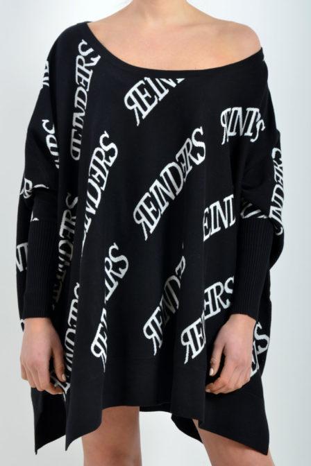 Reinders loesje knitwear short all over black/white