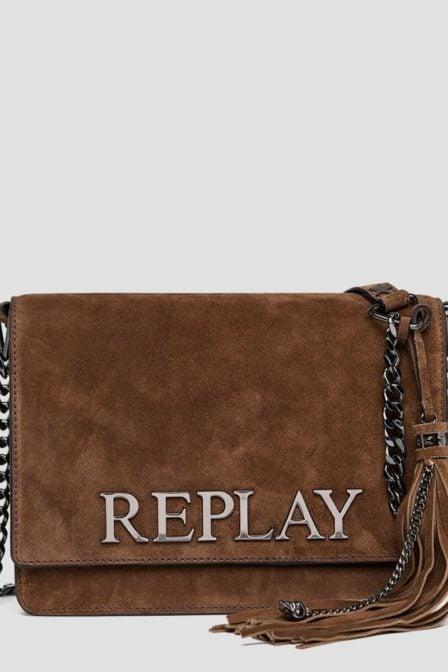 Replay sude leathers shoudertas bruin