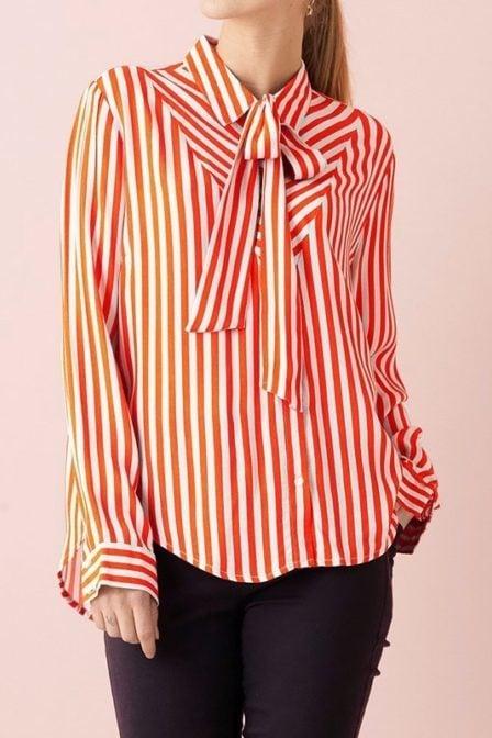 Saint tropez gestreepte blouse strik rood
