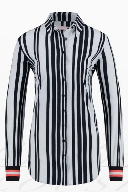 Studio anneloes poppy stripe blouse wit/donkerblauw