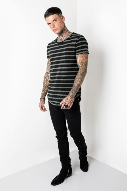 Tigha leno stripes t-shirt green/black