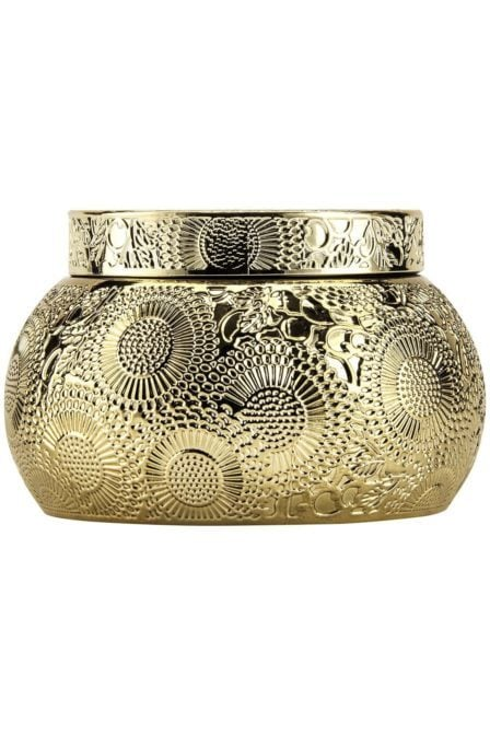Voluspa chawan bowl 2 wick embossed glass candle