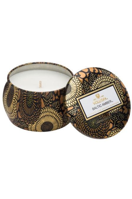 Voluspa petite decorative tin candle baltic amber