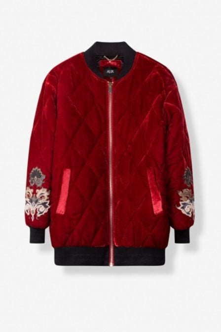 Alix padded velvet coat red