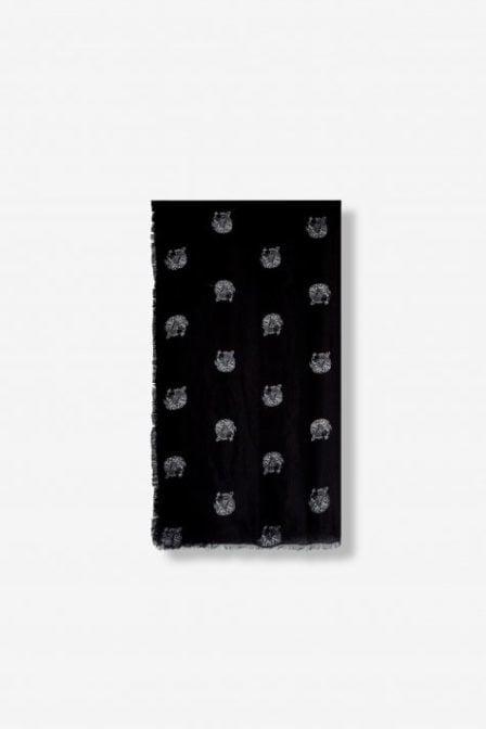 Alix the label woven dot leopard scarf zwart