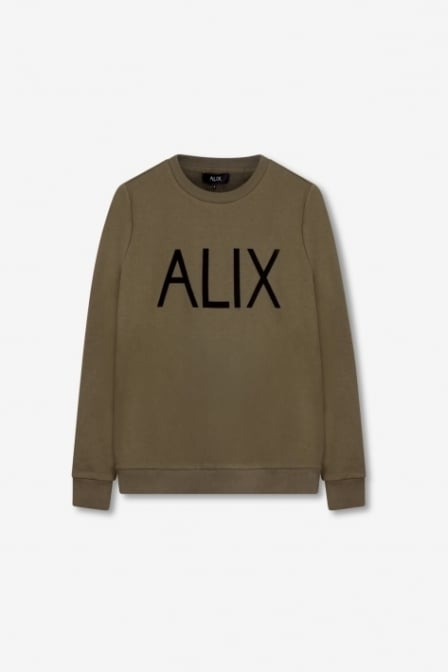 Alix the label ladies knitted alix sweater cedar green