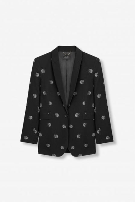 Alix the label woven dot leopard blazer zwart