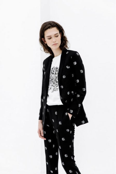Alix the label woven dot leopard blazer zwart