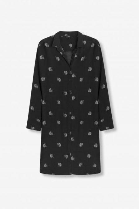 Alix the label woven dot leopard blouse zwart