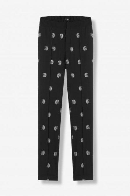 Alix the label woven dot leopard chino zwart