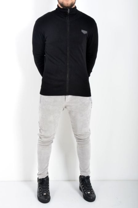 Antony morato cardigan with zip and patch on chest black