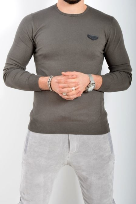 Antony morato sweater round collar with patch army green