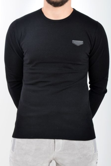 Antony morato sweater round collar with patch black