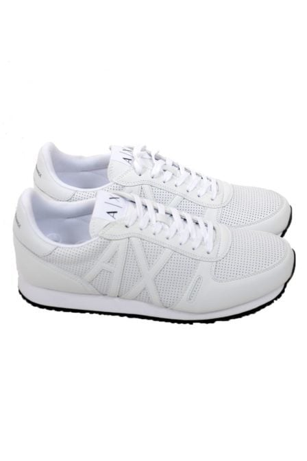 Armani man leather sneakers white