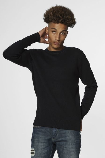 Denham wall crew knit tdf soft black