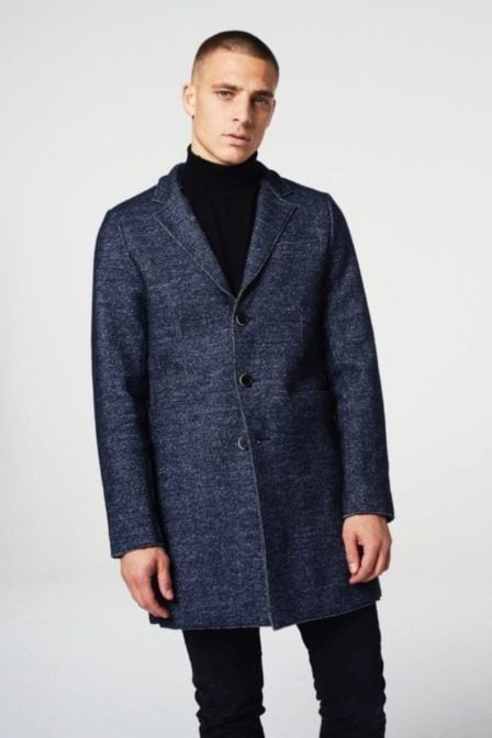 Dstrezzed coat boucle wool navy melange
