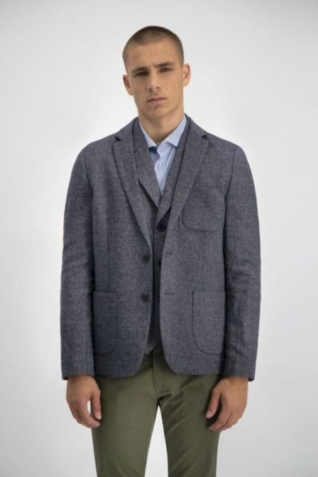 Dstrezzed blazer herringbone wool tweed navy
