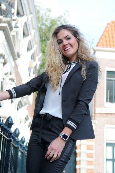 Elias rumelis leya ladies blazer with rib cuffs black