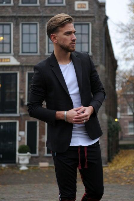 Elias rumelis ruben mens jacket with cuts zwart