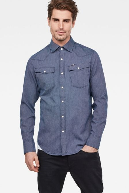 G-star slim shirt i rinsed blouse blue