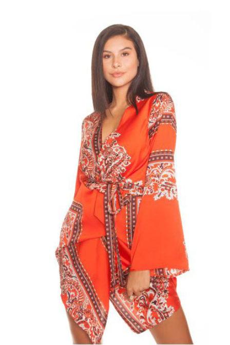 La sisters paisley kimono dress orange
