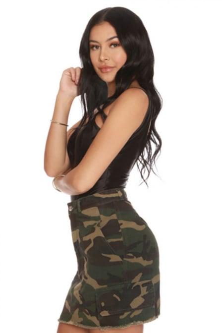 La sisters mini camouflage skirt army