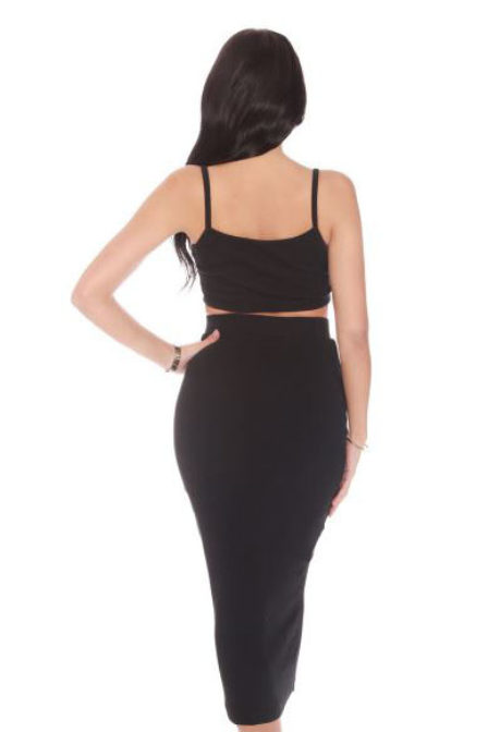 La sisters ribbed midi two piece black
