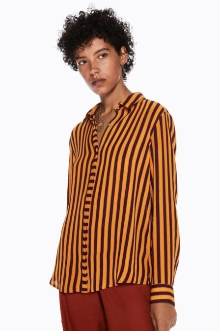 Maison scotch regular fit drapey shirt stripe and colour