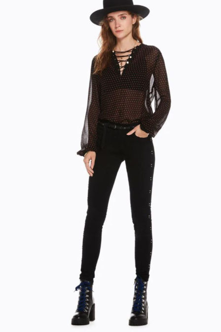 Maison scotch viscose top with lace up detail black
