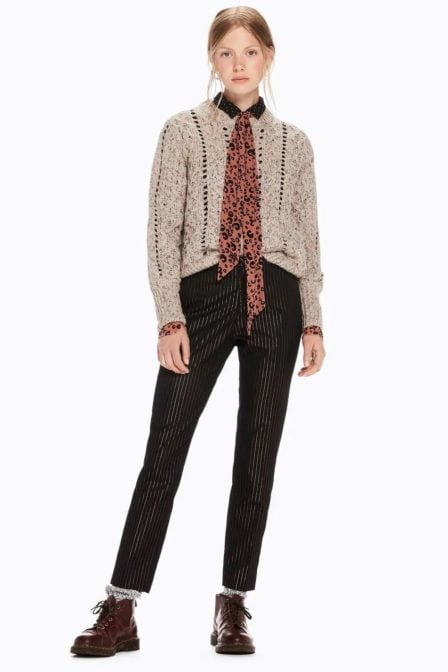 Maison scotch classic tailored pants in stripes with a belt