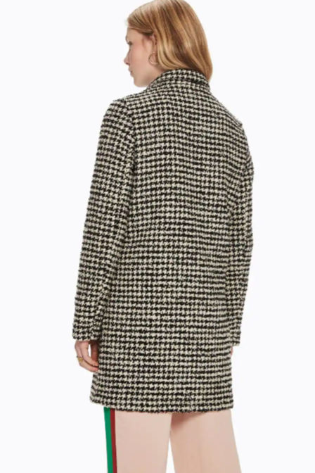 Maison scotch bonded wool jacket in checks ans solids